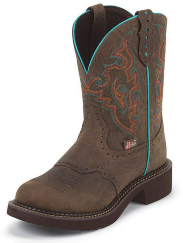 "Justin Womens Gypsy 8"" Barnwood Brown Round Toe Cowgirl Boots - Pete's Town Western Wear"