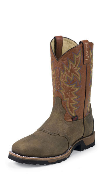 Tony Lama Mens TLX Steel Toe Brown & Montana w/Saddle Work Boots - Pete's Town Western Wear
