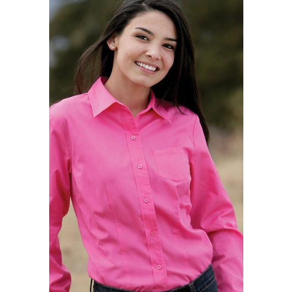Cruel  Ladies Pink Twill Shirt With Logo Buttons - Pete's Town Western Wear