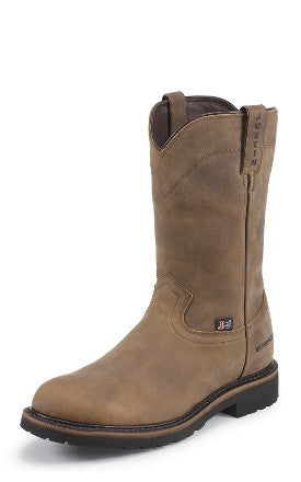 "Justin Men's Worker II Collection 10"" Wyoming All Leather Waterproof Round Toe Pull-On Work Boot - Pete's Town Western Wear"