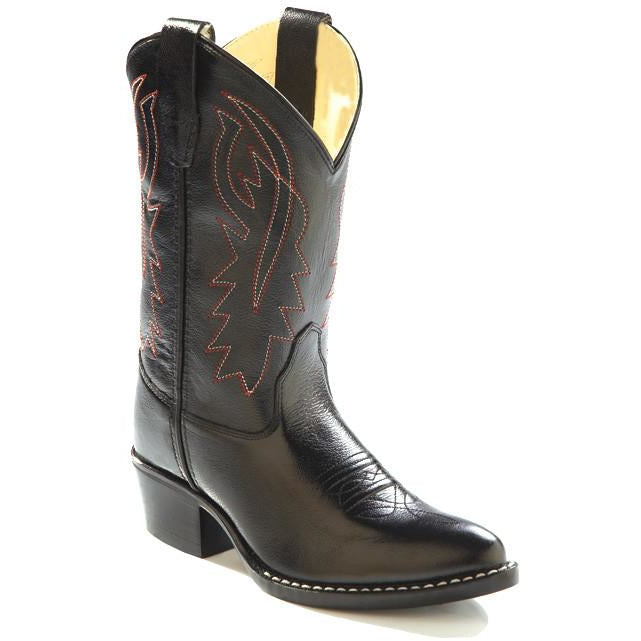 Jama Youth Western Cowboy Boots Black Corona Leather - Pete's Town Western Wear