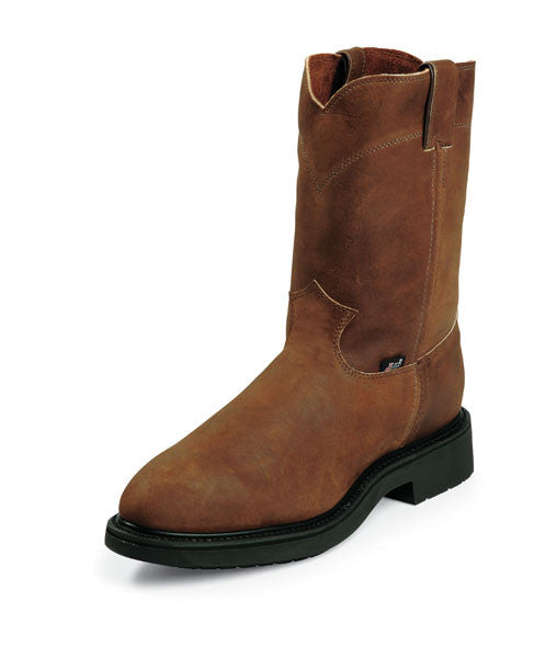 "Justin Mens Work Boots Round Steel Toe 10"" Pull On Aged Bark - Pete's Town Western Wear"