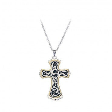 Montana Silversmiths Ladies Gold Rope Edge Cross Necklace - Pete's Town Western Wear