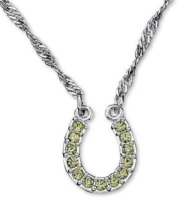 Montana Silversmiths ladies Green Rhinestone Horseshoe Necklace - Pete's Town Western Wear