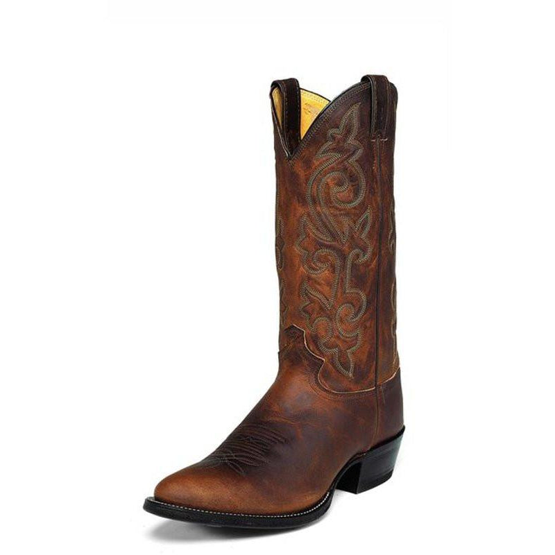 "Justin Men's Classic Western 13""  Bay Apache All-Leather Round Toe Pull-On Cowboy Boots - Pete's Town Western Wear"