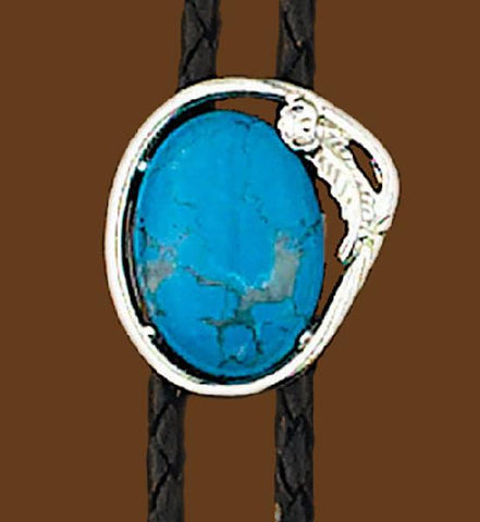 Turquoise Bolo with Silver Outline Tie Made In The USA - Pete's Town Western Wear