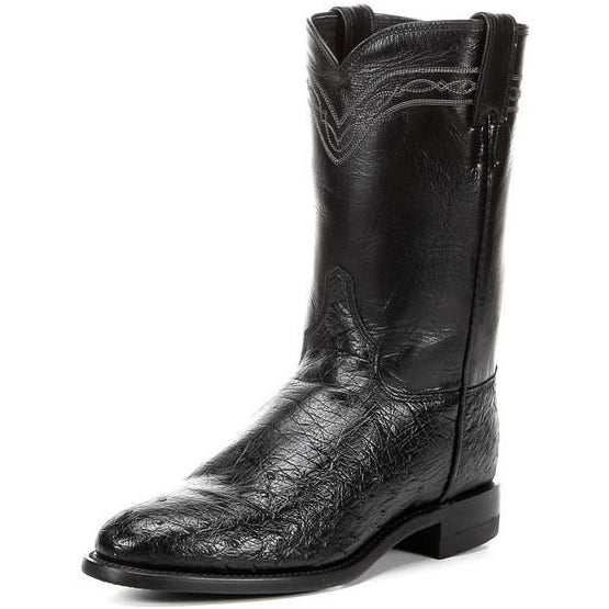 Justin Men's Exotic Ropers Black Smooth Quill Ostrich Boots - Pete's Town Western Wear