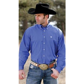 Cinch Men's Blue Long Sleeve Pinpoint Button Western Shirt - Pete's Town Western Wear