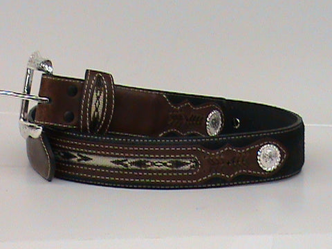 Nocona Men's Black Fabric Inlay Concho Western Cowboy Belt - Pete's Town Western Wear