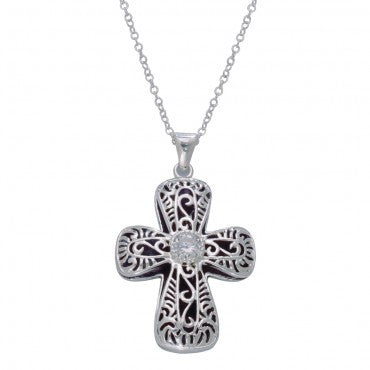 Montana Silversmiths Ladies Filigree Pure Heart Cross Necklace - Pete's Town Western Wear