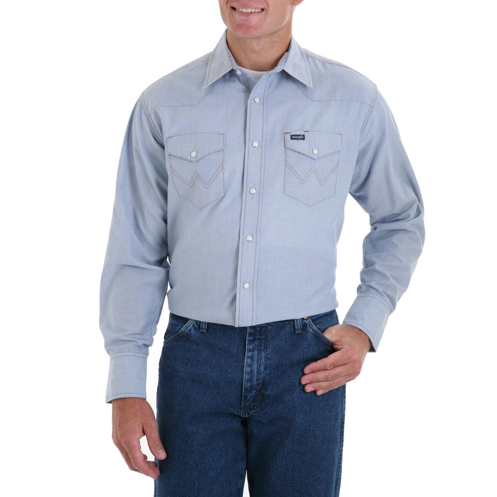 Men's 70130MW Authentic Cowboy Cut Work Western Shirts Chambray - Pete's Town Western Wear