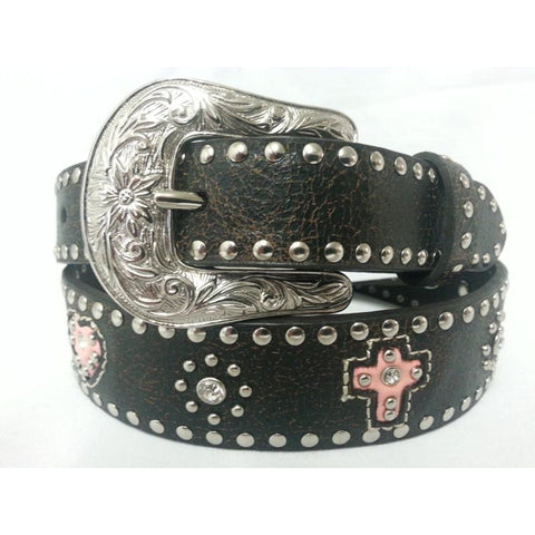 Girls Pink Heart And Cross Brown Leather Belt - Pete's Town Western Wear