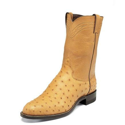 Justin Men's Ropers Antique Saddle Full Quill Ostrich Boots - Pete's Town Western Wear