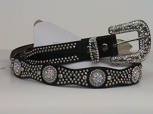 Nocona Embellished Black Croc Print Leather Belt - Pete's Town Western Wear
