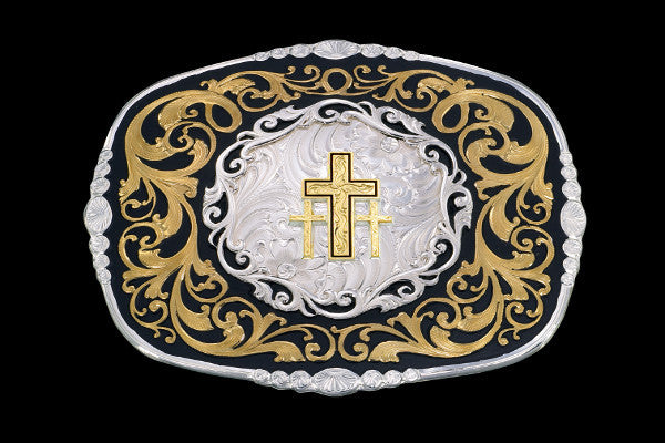 Montana SilverSmithTriple Cross Western Belt Buckle - Pete's Town Western Wear