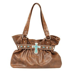 Ladies Turquoise Crosss Stones And Studs Dark Brown Purse - Pete's Town Western Wear