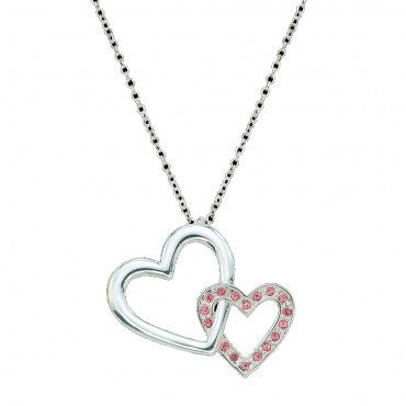 Montana Silversmiths Ladies Double Heart Silver N Pink Necklace - Pete's Town Western Wear