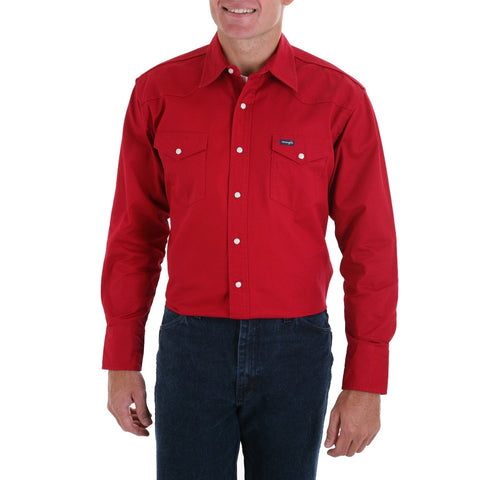 Men's Authentic Cowboy Cut Work Western Shirts Red - Pete's Town Western Wear