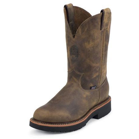 "Justin Men's J-MAX 11"" Round Toe Pull-On Work Boot -Rugged Tan Leather - Pete's Town Western Wear"