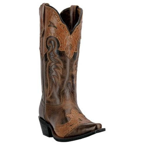 "Laredo Ladies12"" Brown With Cognac Collar And Saddle - Pete's Town Western Wear"