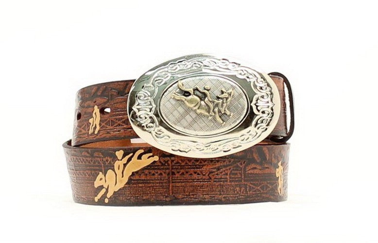 Kids Western Fashion Embossed Bronc Rider Brown Leather Belt - Pete's Town Western Wear