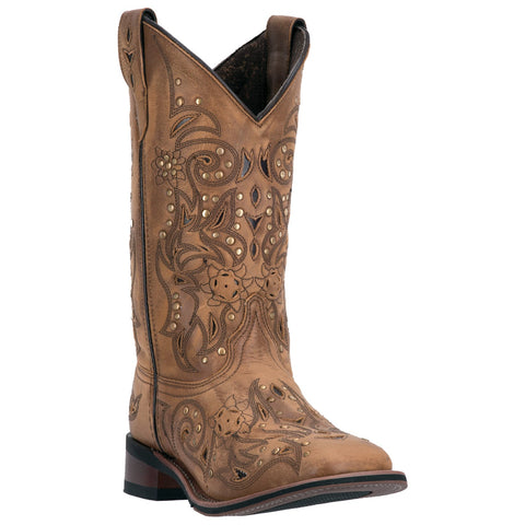 Laredo Women's Tan Decorative Square Toe Cowgirl Boot.