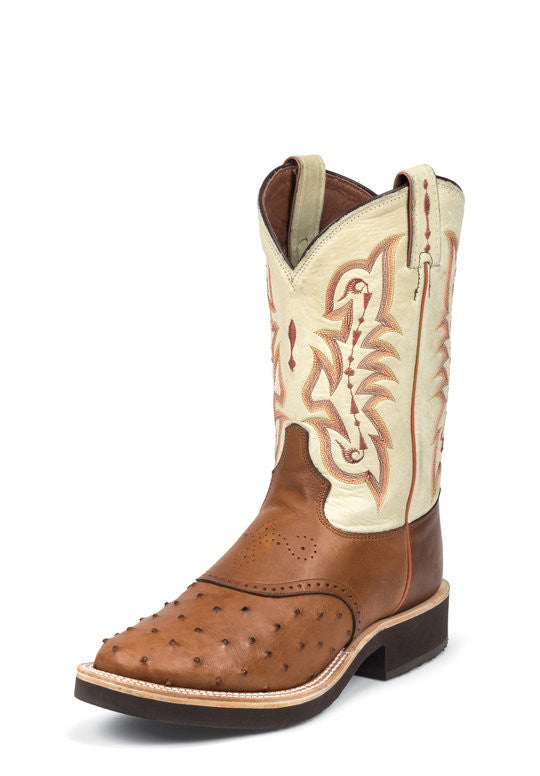 Tony Lama Mens Peanut Brittle Full Quill Ostrich Boots Round Toe - Pete's Town Western Wear