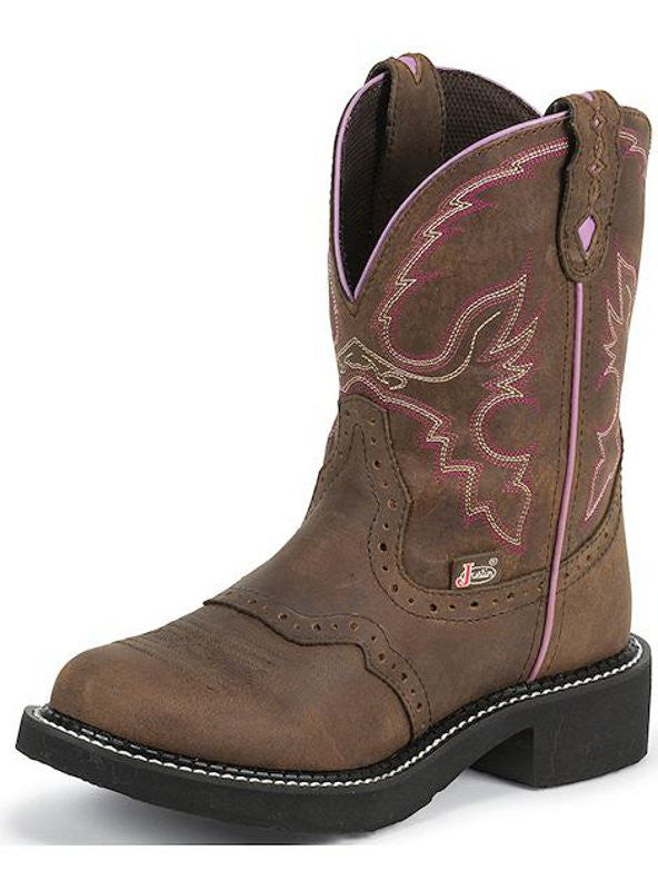 "Justin Womens Gypsy 8"" Aged Bark Steel Toe Work Boots - Pete's Town Western Wear"