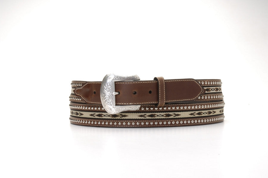 Nocona Inlay Studded Brown Leather Belt - Pete's Town Western Wear