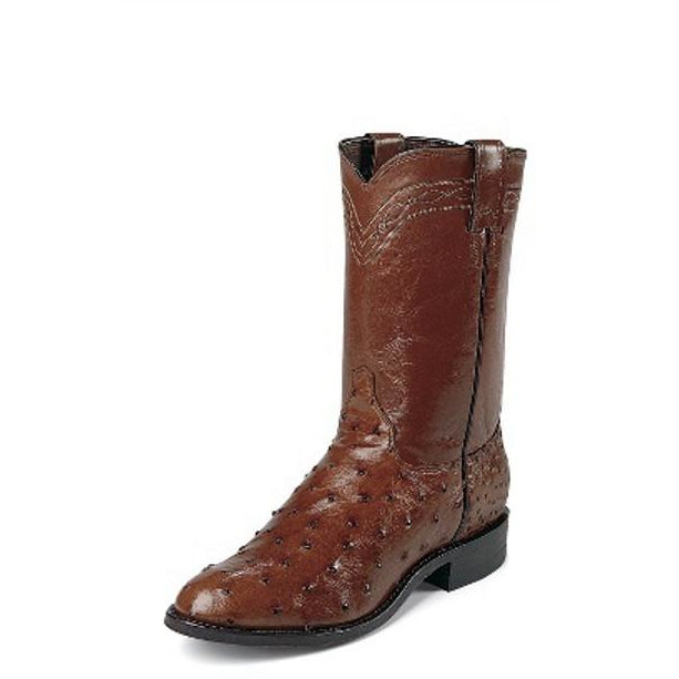"Justin Men's 10"" Ropers Antique Brown Full Quill Ostrich Boots - Pete's Town Western Wear"