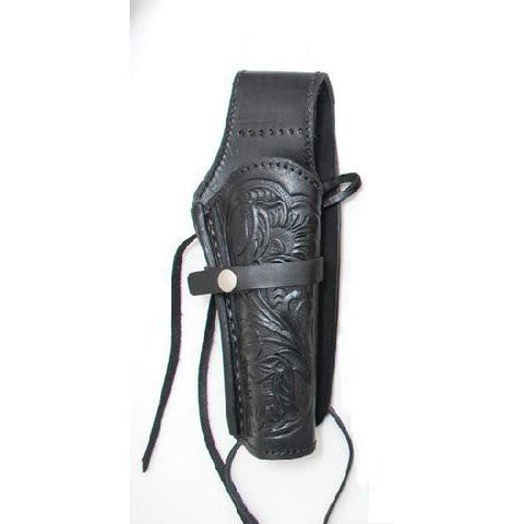 Hand Tooled Black Embossed Leather Western Ties Gun Belt Holster - Pete's Town Western Wear