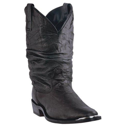 "Dingo Mens Slouch 12"" Black Pigskin Leather Dress Cowboy Boots - Pete's Town Western Wear"