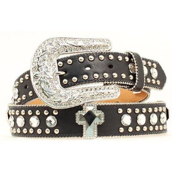 Blazin Roxx Ladies Rhinestone Cross Black Leather Belt - Pete's Town Western Wear