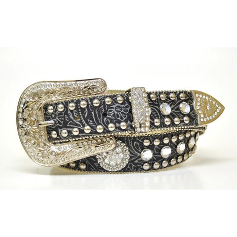 Blazin Roxx Ladies Embossed Rhinestone Concho Black Leather Belt - Pete's Town Western Wear