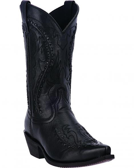 Laredo Men's Black Snip Toe Traditional Leather Cowboy Boot