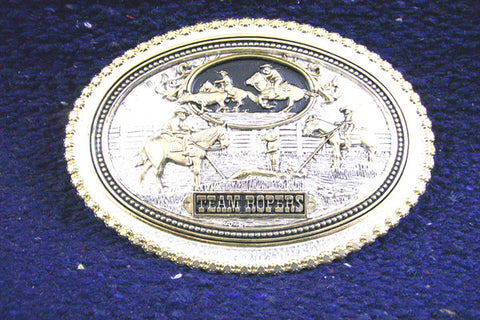 Montana SilverSmith Team Ropers Silver And Gold Belt Buckle - Pete's Town Western Wear