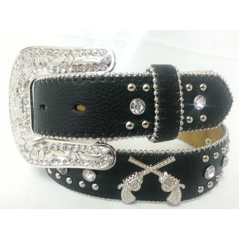 Blazin Roxx Ladies Six Shooter Black Leather Belt - Pete's Town Western Wear