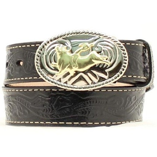 Kids Bright Silver Buckle Gold Bull Rider Black Leather Belt - Pete's Town Western Wear