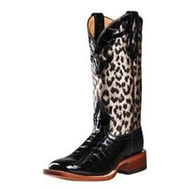 "Johnny Ringo Women's 11"" Black and Cheetah Western Cowgirl Boots - Pete's Town Western Wear"