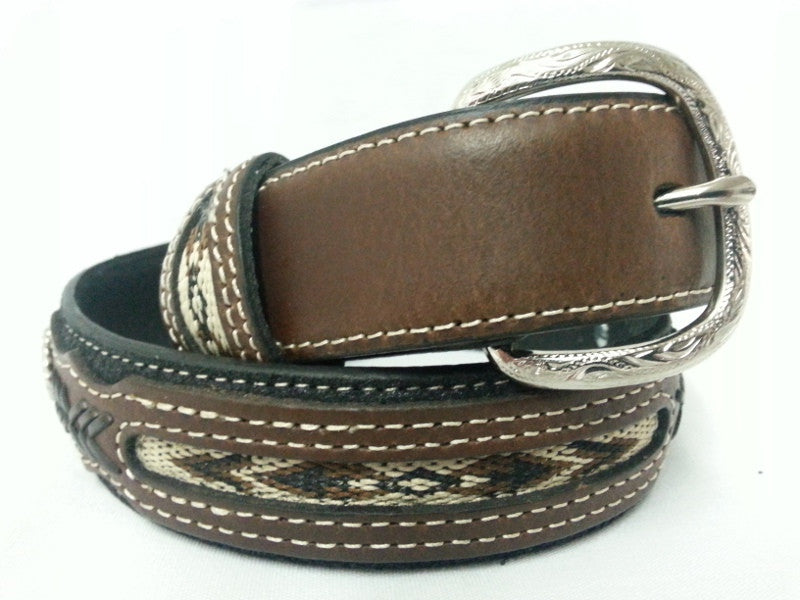 Kids Indian Lace Concho Black and Brown Leather Belt - Pete's Town Western Wear