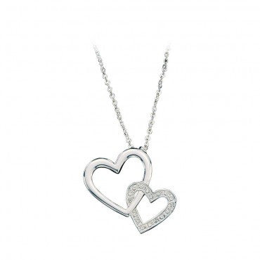 Montana Silversmiths Ladies Silver Crystal Double Heart Necklace - Pete's Town Western Wear