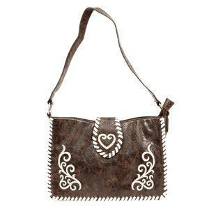 Ladies Nocona Small Brown Whipstitched Tote Purse - Pete's Town Western Wear