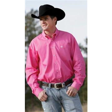 Cinch Men's Pink Pinpoint Buttondown Long Sleeve Western Dress Shirt - Pete's Town Western Wear