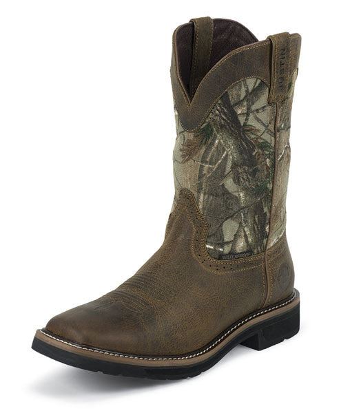 "Justin Mens Waterproof Square Toe 11"" Rugged Tan/ Camo Work Boot - Pete's Town Western Wear"