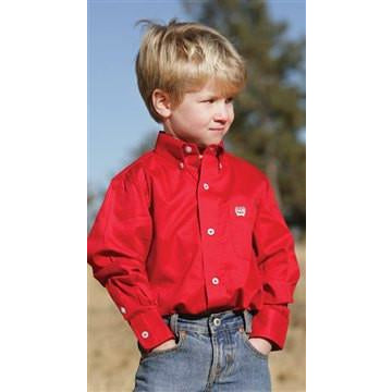 Cinch Boy's Red Twill Long Sleeve Pinpoint Shirt - Pete's Town Western Wear