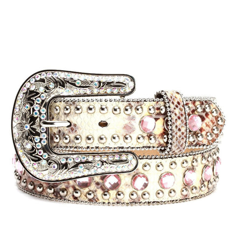Blazin Roxx Ladies Snakeprint Rhinestone Leather Belt - Pete's Town Western Wear