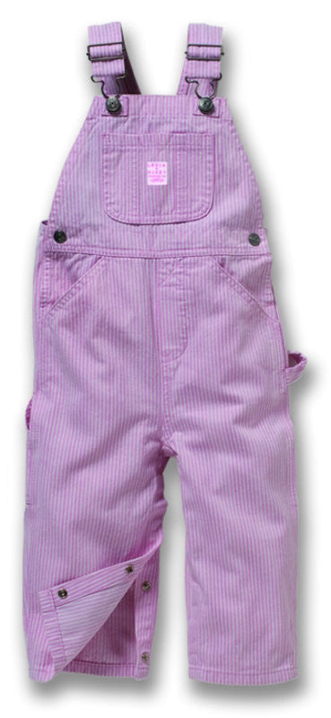 Toddler Premium Washed Bib Overall's Pink & White Stripe - Pete's Town Western Wear