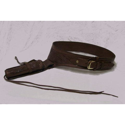 Hand Tooled Chocolate Embossed Western Leather Gun Belt Single Holster - Pete's Town Western Wear