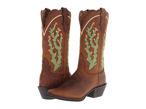 "Justin Womens Stampede 12"" Tan Apache Western Cowgirl Boots - Pete's Town Western Wear"