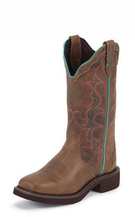 "Justin Womens Gypsy 12"" Tan Jaguar Square Toe Cowgirl Boots - Pete's Town Western Wear"